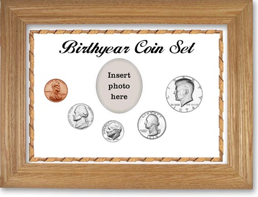 1974 Birth Year Coin Gift Set with a white background and wheat frame LARGE
