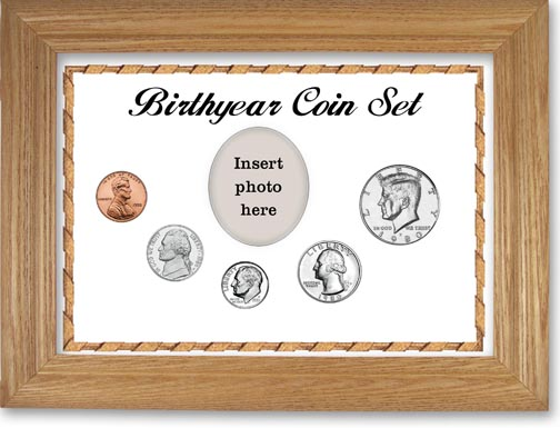 1980 Birth Year Coin Gift Set with a white background and wheat frame LARGE