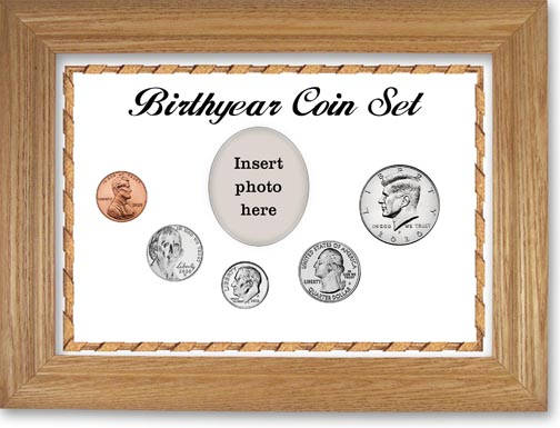 Birth Year Coin Gift Set with white background and wheat frame LARGE