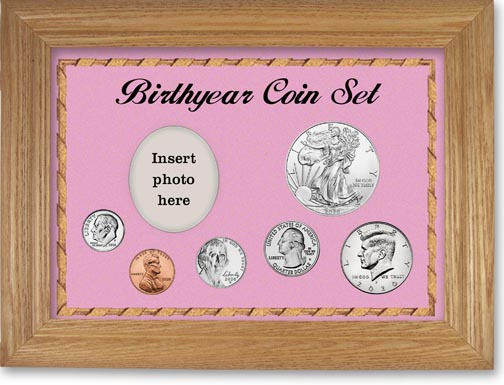 Birth Year Deluxe Gift Set with pink background and wheat frame LARGE