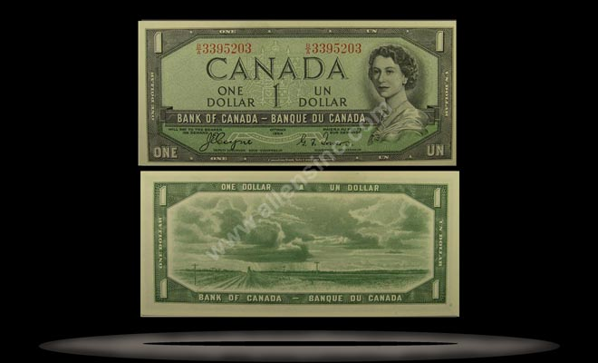 Canada Banknote, 1 Dollar, 1954, P#66a