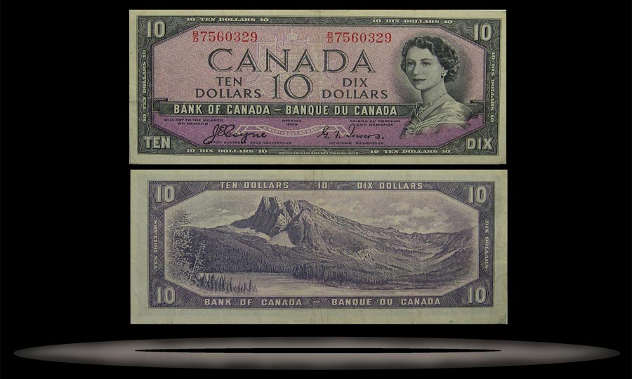 Canada Banknote, 10 Dollars, 1954, P#69a