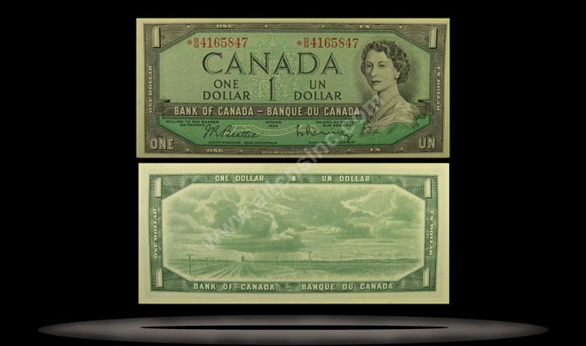 Canada Banknote, 1 Dollar, 1954, P#75a