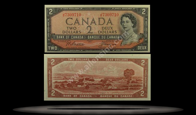 Canada Banknote, 2 Dollars, 1954, P#76a