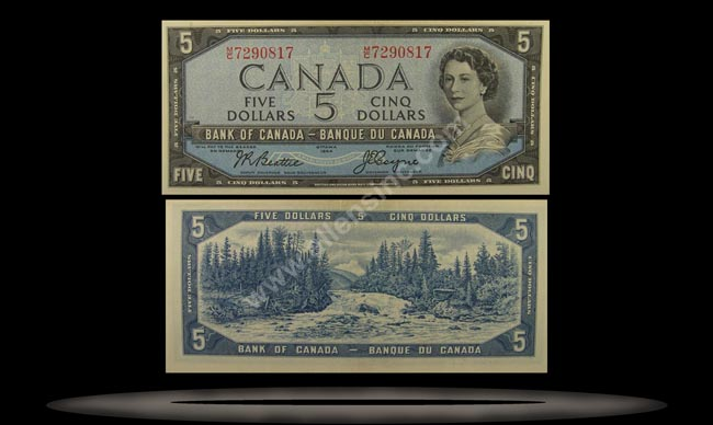 Canada Banknote, 5 Dollars, 1954, P#77a