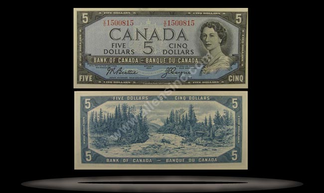 Canada Banknote, 5 Dollars, 1954, P#78