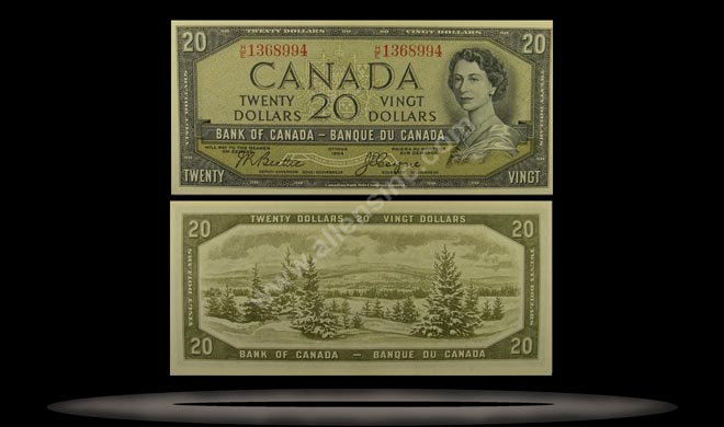 Canada Banknote, 20 Dollars, 1954, P#80a
