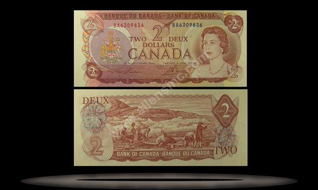 Canada Banknote, 2 Dollars, 1974, P#86a