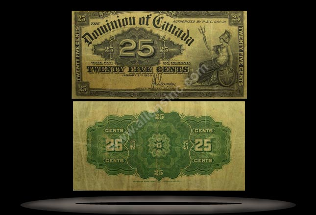 Canada Banknote, 25 Cents, 2.1.1900, P#9b