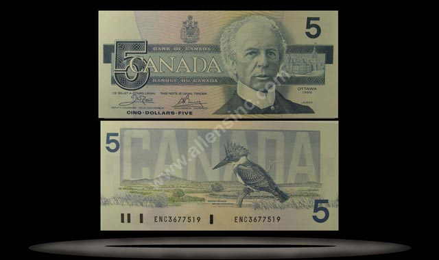 Canada Banknote, 5 Dollars, 1986, P#95a2
