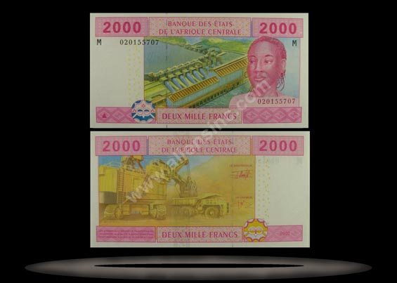 Central African Republic, Central African States Banknote, 2000 Francs, 2002, P#308M