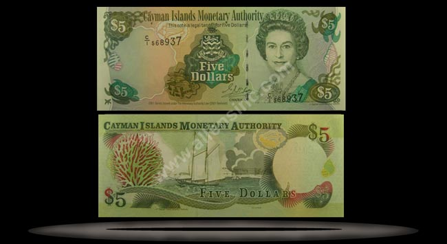 Cayman Islands Banknote, 5 Dollars, 2001, P#27a