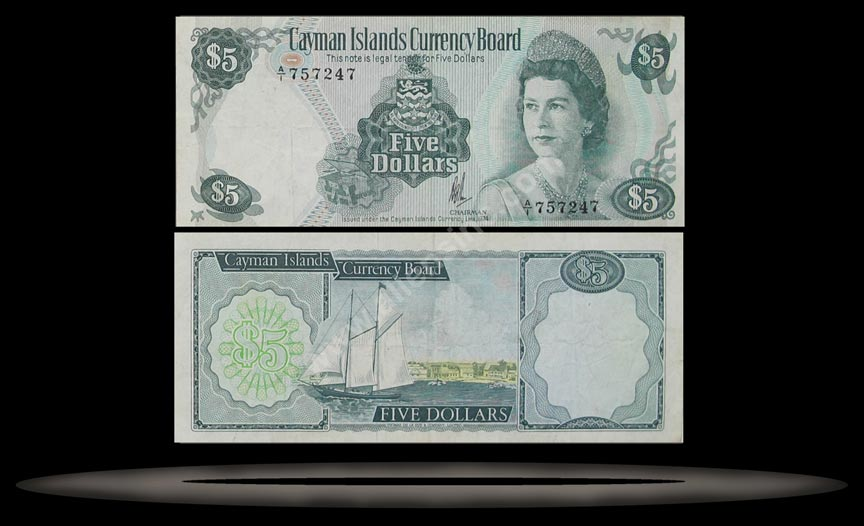 Cayman Islands Banknote, 5 Dollars, L.1974 (1985), P#6a