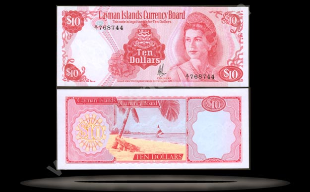 Cayman Islands Banknote, 10 Dollars, L.1974 (1985), P#7a