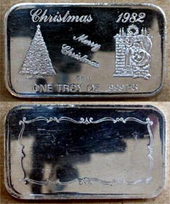 Christmas 1982' Art Bar by Crown Mint.