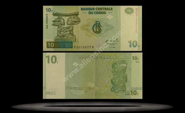 Congo Democratic Republic Banknote, 10 Francs, 1.11.1997, P#87B