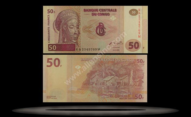 Congo Democratic Republic Banknote, 50 Francs, 4.1.2000, P#91A