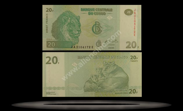 Congo Democratic Republic Banknote, 20 Francs, 30.6.2003, P#94