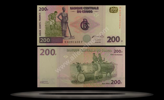 Congo Democratic Republic Banknote, 200 Francs, 30.6.2000, P#95