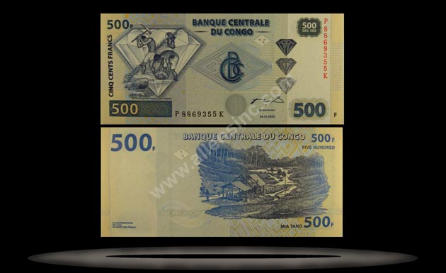 Congo Democratic Republic Banknote, 500 Francs, 4.1.2002, P#96