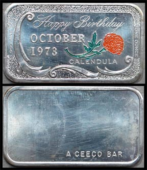 Happy Birthday 1973 - October, Calendula - enameled' Art Bar by Ceeco Mint. MAIN