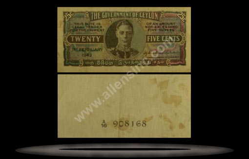 Ceylon Banknote, 25 Cents, 14.7.1942, P#44a