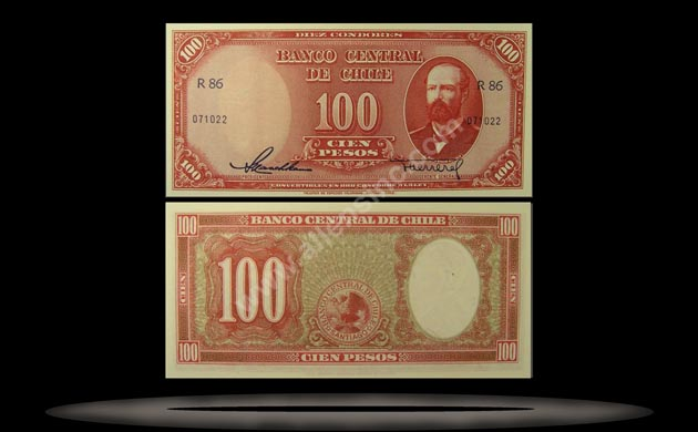 Chile Banknote, 100 Pesos, ND (1947-58), P#114