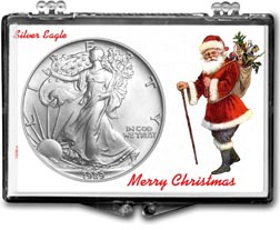 1989 Merry Christmas Santa Claus American Silver Eagle Gift Display THUMBNAIL