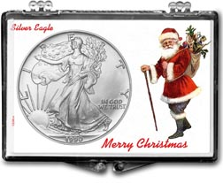 1990 Merry Christmas Santa Claus American Silver Eagle Gift Display THUMBNAIL