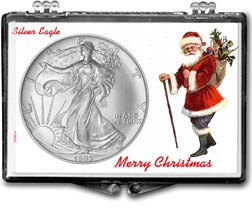 1993 Merry Christmas Santa Claus American Silver Eagle Gift Display THUMBNAIL
