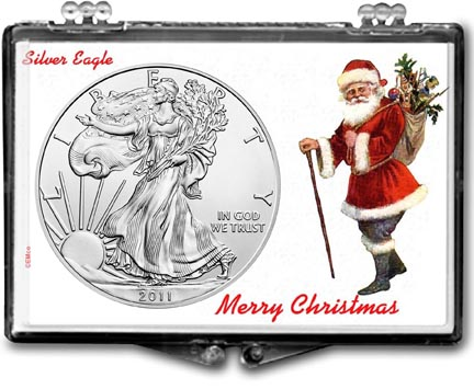 2011 Merry Christmas Santa Claus American Silver Eagle Gift Display LARGE