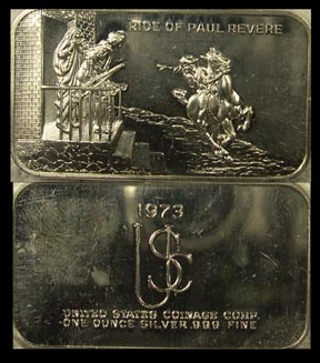 Paul Revere's Ride' Art Bar by US Coinage Corp.