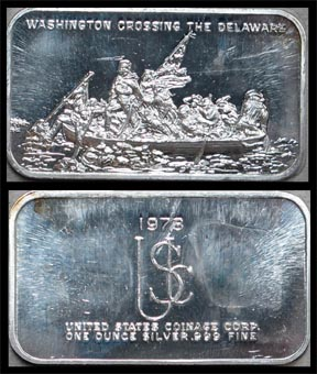 Washington Crossing The Delaware' Art Bar by US Coinage Corp.