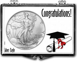 1990 Congratulations Graduate American Silver Eagle Gift Display THUMBNAIL