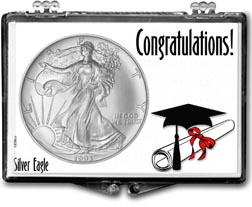 1993 Congratulations Graduate American Silver Eagle Gift Display THUMBNAIL