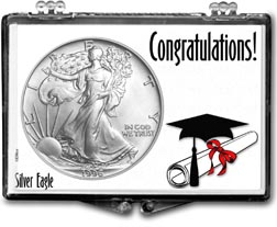 1996 Congratulations Graduate American Silver Eagle Gift Display THUMBNAIL