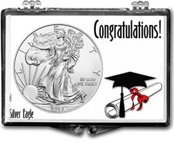 2015 Congratulations Graduate American Silver Eagle Gift Display THUMBNAIL