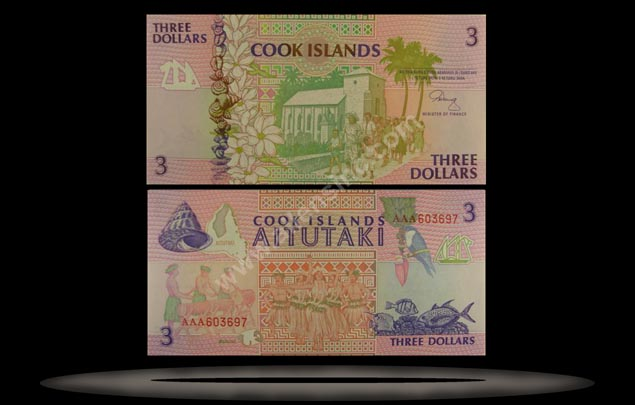 Cook Islands Banknote, 3 Dollars, ND (1992), P#7