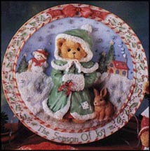Girl In Green Dress - The Season Of Joy, Cherished Teddies Plate #141550