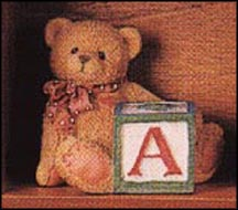 Bear With A Block, Cherished Teddies Block Letter #158488A MAIN