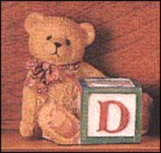 Bear With D Block, Cherished Teddies Block Letter #158488D MAIN