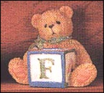 Bear With F Block, Cherished Teddies Block Letter #158488F