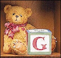 Bear With G Block, Cherished Teddies Block Letter #158488G MAIN