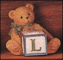 Bear With L Block, Cherished Teddies Block Letter #158488L MAIN