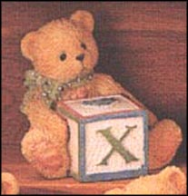 Bear With X Block, Cherished Teddies Block Letter #158488X