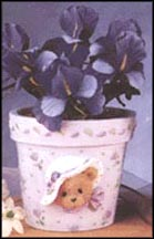 Mini Flower Pot With Silk Flowers, Cherished Teddies Flower Pot #202983L