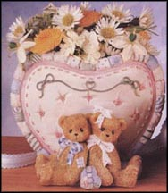 Bear With Bows Heart Vase, Cherished Teddies Vase #203289