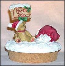 Teddie With North Pole Sign, Cherished Teddies Candle Topper #778273 MAIN