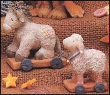 Sheep/Donkey Pull Toys - Set Of 2, Cherished Teddies Figurine #912867DS MAIN