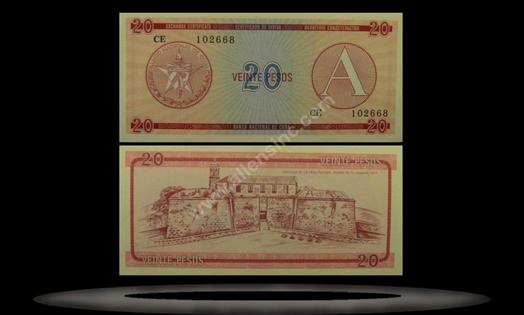 Foreign Exchange, Cuba Banknote, 20 Pesos, ND (1985), P#5